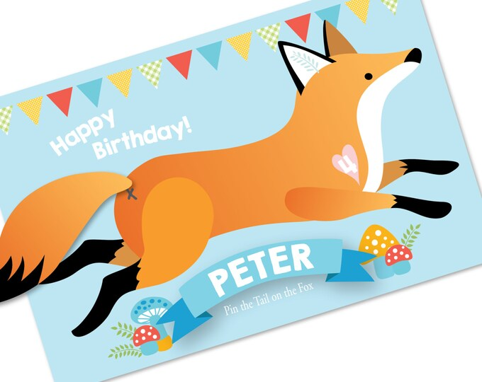 Pin the tail on the FOX- party game - DIY party game, digital files, game for boys or girls - fox game- woodland fox game