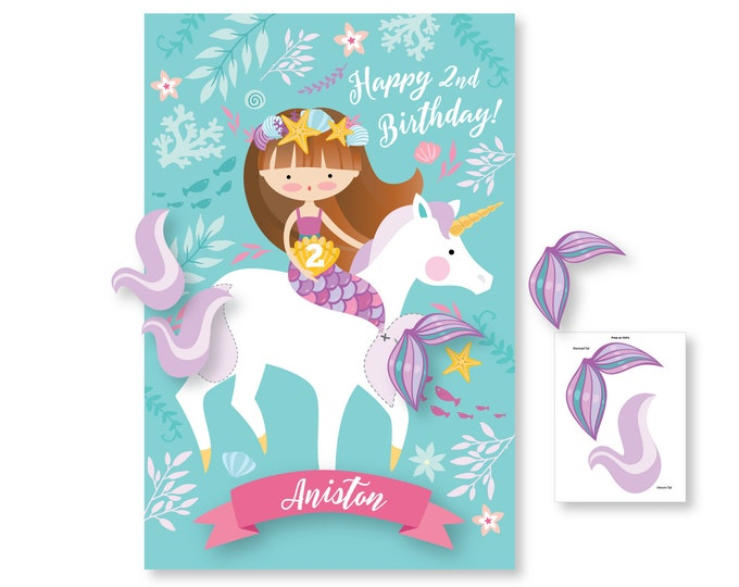 Pin the Tail on the Mermaid and Unicorn / party game - DIY party game - party game for girls - mermaid / unicorn game / digital files