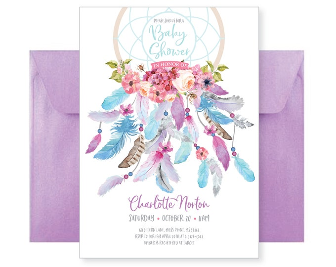 Dreamcatcher boho baby shower invitation. Feathers, bohemian, dream catcher watercolor, baby girl. Digital printable files.