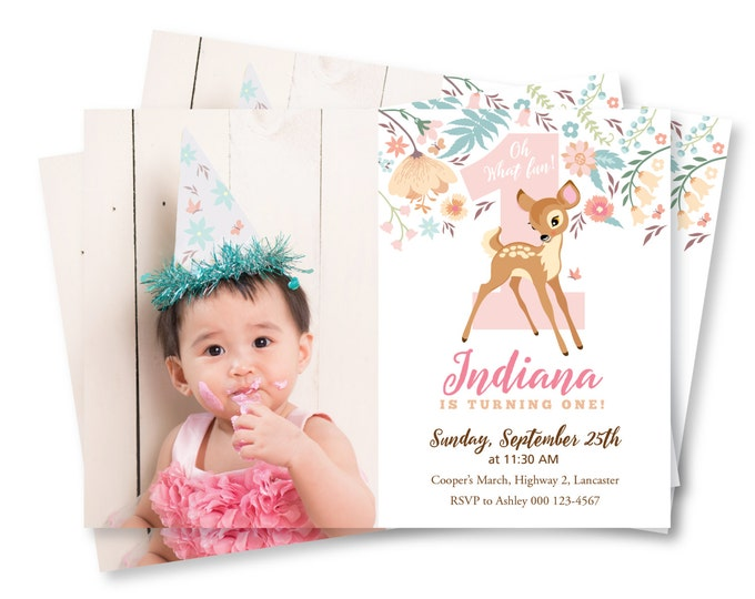 Deer Photo Invitation, Baby Deer First Birthday Party Invitation, Printable, Customized, DIY invitation, Girl's First Party, Woodland party