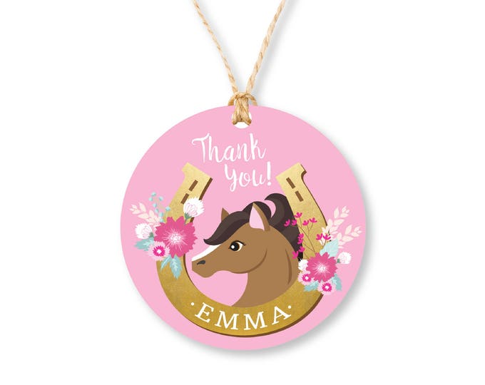 Horse Favor Tag - Pink Horse, Gift Tag, Hang Tags, Thank You Tags, Pony, Horse, Cowgirl - Girls Birthday Party - Printable files