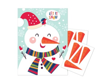 Pin the Nose (Carrot) on the Snowman - holiday party game - DIY party game for school parties - Let it snow party game - digital files