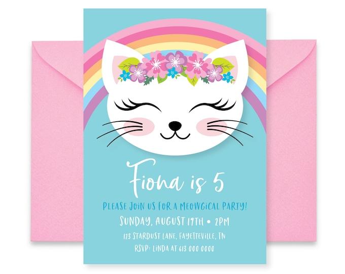 Cat Rainbow Birthday Party Invitation, Kitten, Cat Birthday Girl Printable Invitation, Are you kitten me, Rainbow, Kitty Party