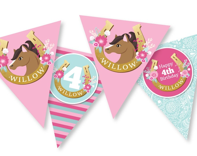 Pink Horse Bunting, Garland, Banner, Printable, Customized, DIY Pony, Horse, Cowgirl - Girls Birthday Party - Digital files