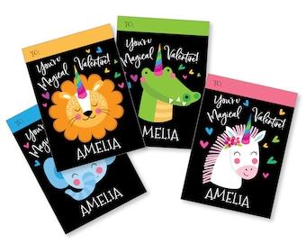 Valentines Day Animal-corns, Unicorns, printable DIY Valentine classroom cards, custom name on Valentine, You're Magical Valentine