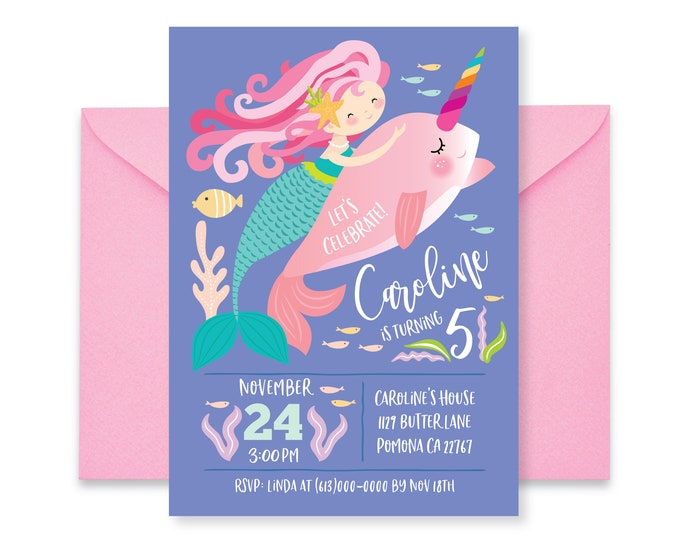 Mermaid Narwhal Invitation, Girl's Narwhal, Mermaid Party, Mermaid Riding Narwhal, Pool Party, Printable Digital Files Printable, Customized