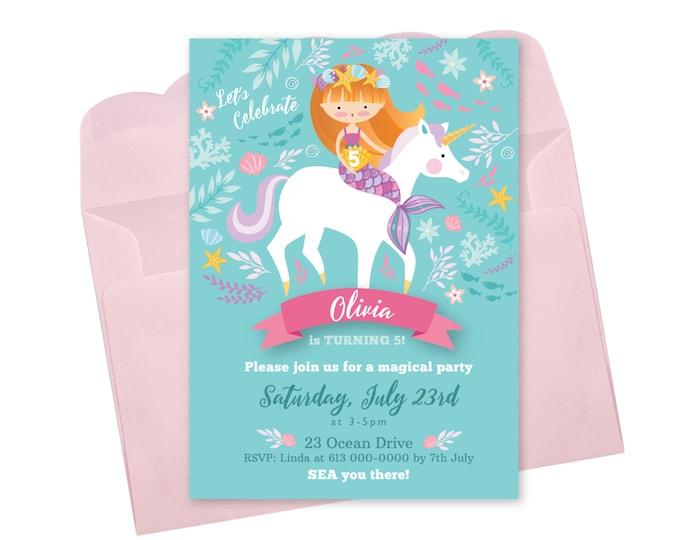 Mermaid Unicorn Invitation, Printable, Customized, DIY invitation, Girl's Unicorn / Mermaid Party, Mermaid Riding Unicorn, Pool Party