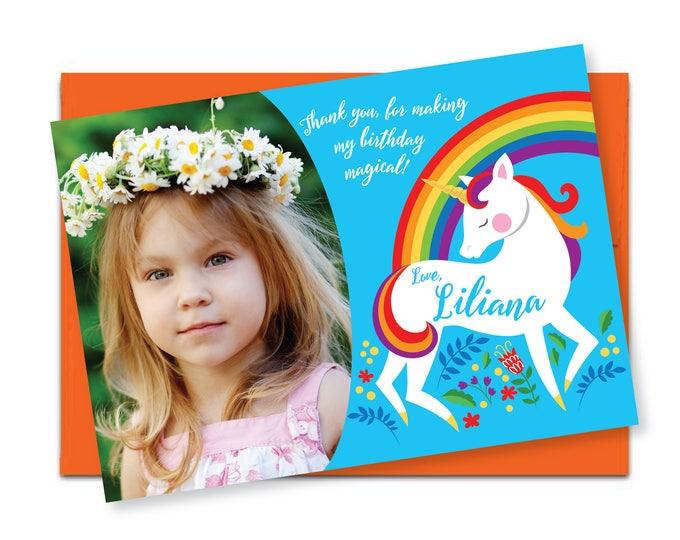 Rainbow Unicorn Photo Thank You / Printable, Customized, DIY invitation / BirthdayThank You