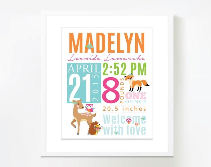Birth Stats, Wall Art, Woodland Birth Announcement wall art personalized, baby print date of birth, baby keepsake, birth sign, digital file