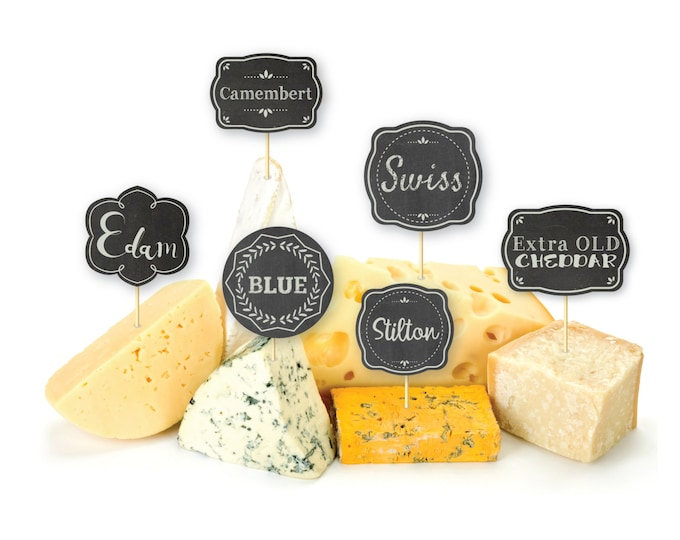 Cheese party name tags - flags, DIY cheese tags, Printable party tags, Instant Download, hors d'oeuvre parties
