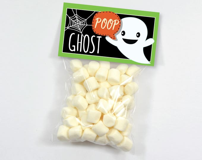 Ghost Poop, Halloween Party Treat Bag Topper - Halloween Party, INSTANT DOWNLOAD Printable, Ghost Droppings