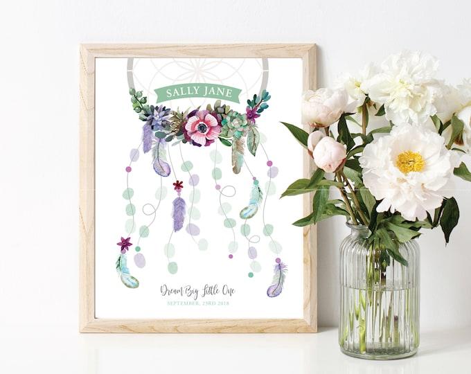 Dreamcatcher Thumbprint Guest Wall Art - Boho Baby Shower / Succulent Flowers / Baby Shower Decor / Guestbook Wall Art / Fingerprint Art