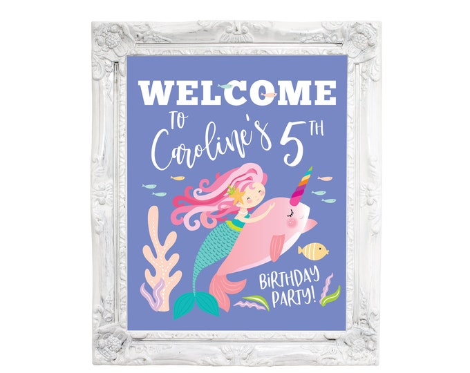 Mermaid Narwhal Welcome Sign, Girl's Narwhal Mermaid Party, Mermaid Riding Narwhal, Pool Party, Printable Digital Files, Customized