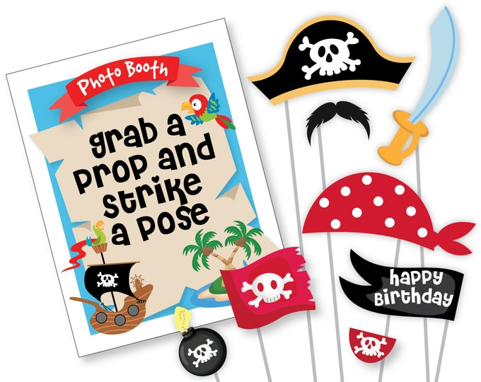 Boys Pirate Photo Booth Props - Pirate Birthday Props - Instant Download, printable files