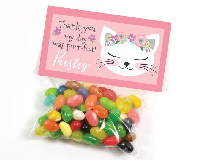 Cat Party Treat Bag Topper - Cat or Kitten Party, Cat Birthday, Thank You Favor Tag, Digital file, Printable, Customized text