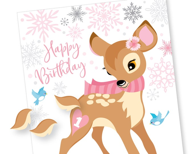 Winter Pin the Tail on the Deer - party game - Winter Onederland First Birthday - DIY party game - Digital files