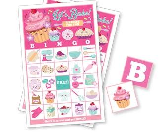Cupcake, Baking BINGO Game - Kid's Printable Bingo Game - Cupcake Party - Girls Birthday Party - Instant Download