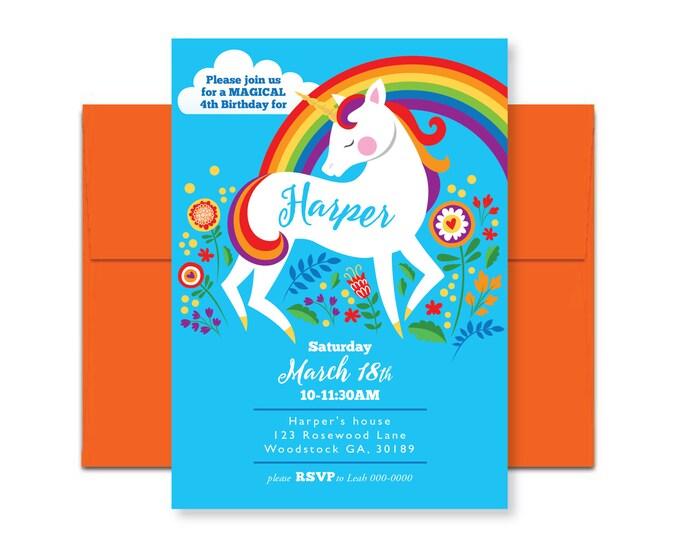 Unicorn Rainbow Birthday Invitation, Printable, Customized, DIY, Girls Birthday Invite - rainbow floral unicorn - woodland unicorn