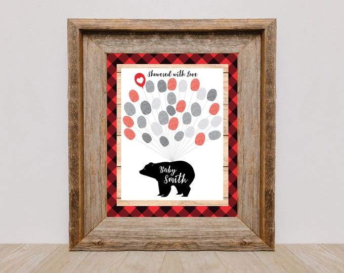 Thumbprint Tree Guestbook - Lumberjack Baby Shower / 1st Birthday Party / plaid, bear / Guestbook Wall Art / Fingerprint Tree