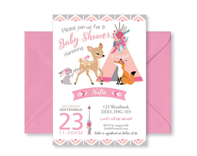Pink Boho Tepee Baby Shower Invitation / Baby Girl / Pink and Grey / Woodland Animals Invite / Tepee, feathers, arrows, Boho shower