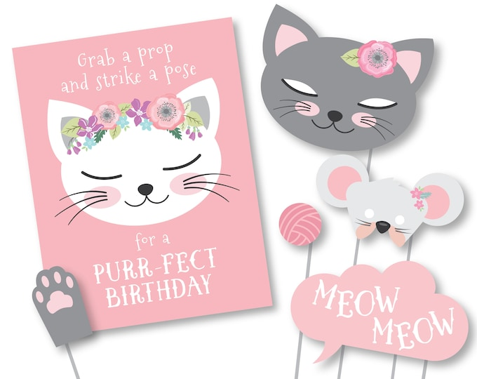 Cat Photo Booth Props - Cat - Kitten Birthday Props - Instant Download, printable files, Kitten Birthday Party