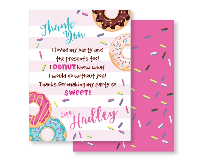 Donuts Thank You, cute donut, sleepover party, slumber party, custom text printable, donut party thanks