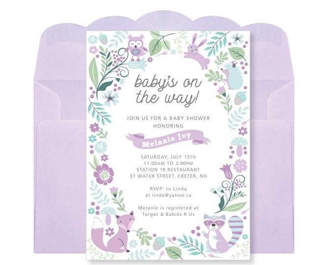 Baby Girl Shower Invitation, Printable, Customized - woodland theme, purple woodland animals