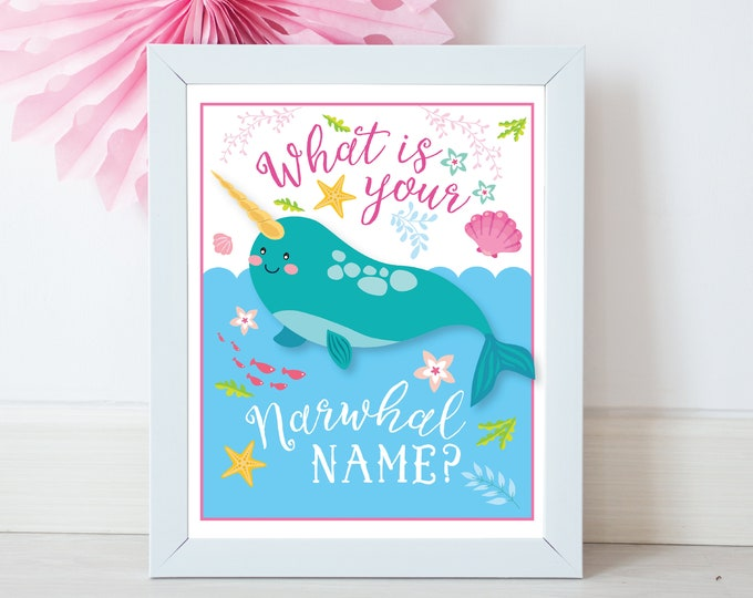 Narwhal Name Game, Sign and Name Labels / What's Your Narwhal Name Game / INSTANT DOWNLOAD / Narwhal Party
