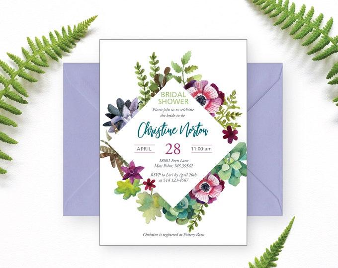 Succulents Bridal Shower Invitation, Botanic  Shower Invite, Printable Invitation, Ferns, Leaves, Bride Luncheon, Elegant Bridal Shower