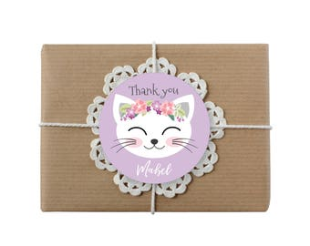 Cat Party Favor Tags, Purple Cat Party, Cat Birthday Girl Printable Tag, Cat birthday Party