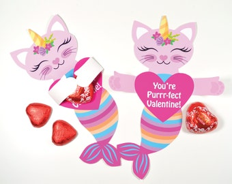 Caticorn Valentine Treat Hug Tag, Printable DIY INSTANT Download file, Classroom Valentine, Valentine's Day Gift, Candy Holder Tag
