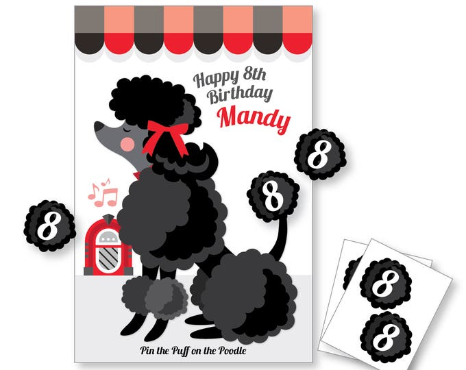 Pin the Puff on the POODLE- party game - DIY party game - 50's party game - poodle game - retro party game - digital files