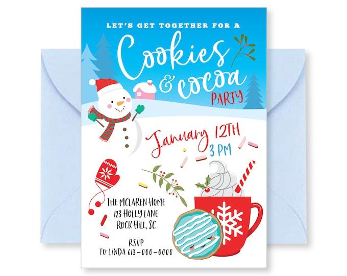 Cookies and cocoa invitation, Winter Birthday Invitation, Christmas party invitations, Printable Holiday Invitation, Digital files