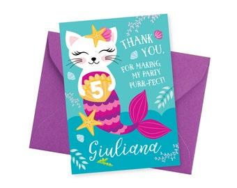 Cat - Mermaid Thank You Card, Customized Printable DIY Thank You Card, Caticorn Thank You, Girl's Birthday Mermaid Cat Party - digital files