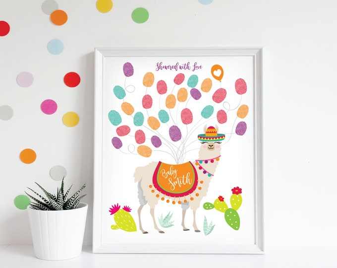 Llama Thumbprint Wall Art - Baby Shower, First Birthday / Gender Neutral / Guestbook Wall Art / Digital Files / Fiesta Thumbprint Guest Book