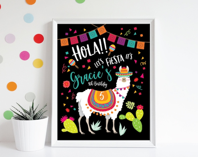 Llama Welcome Sign - Printable, Party Welcome Sign, Customized, Digital files - Fiesta, Mexican Welcome Sign, Taco Birthday party