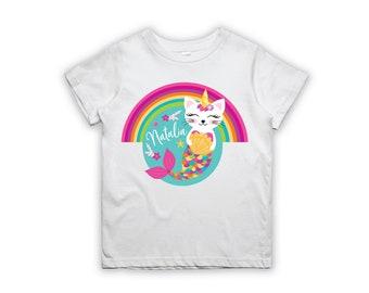 Caticorn T-Shirt Design, Personalized Printable Caticorn Iron-on, Birthday Girl iron on, Tshirt Transfer-Digital File
