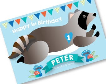 Pin the tail on the RACCOON- party game - DIY party game - birthday party game for boys or girls - raccoon game, digital files only