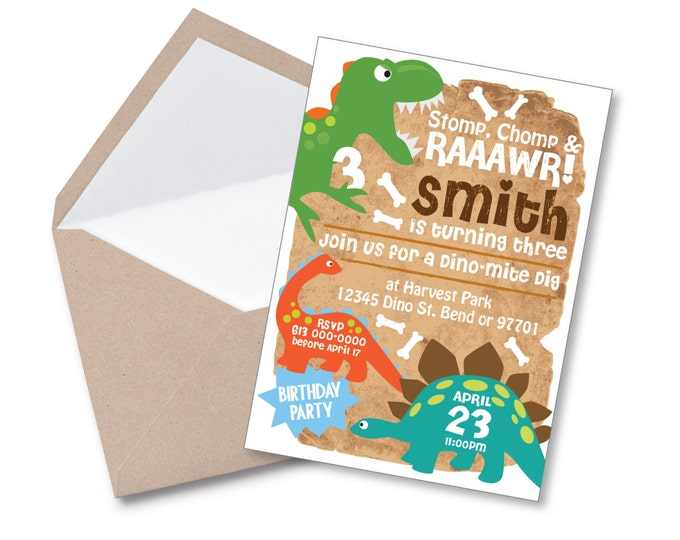 Dinosaur Invitation, Boy's Dinosaur Party, Printable, Customized, DIY invitation, Dinosaur Dig, Cute Dinosaurs Invite