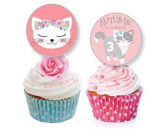 Cat Cupcake Toppers Or Bunting
