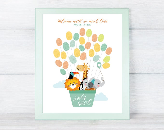 THUMBPRINT GUESTBOOK Printable Sign, Animals Hot Air Balloon Baby Shower, Fingerprint Sign In, Thumbprint Welcome Sign, Baby Keepsake