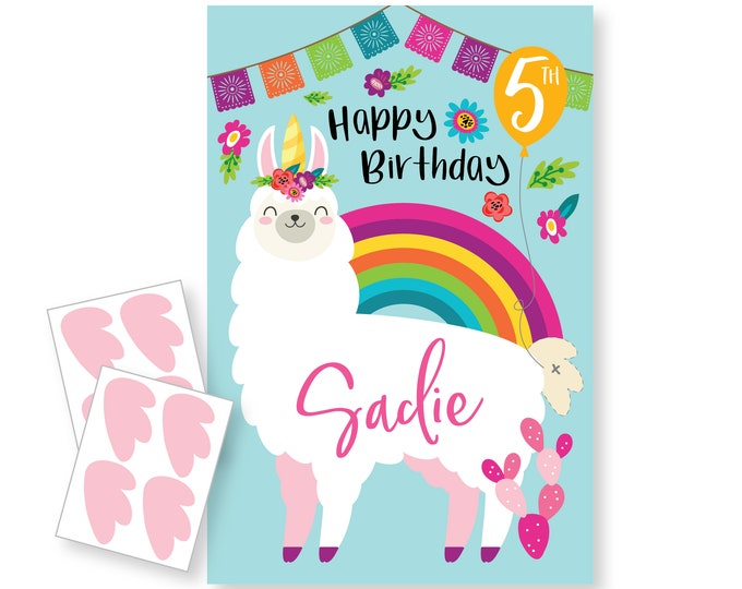 Pin the Tail on the Llama / Unicorn- party game - DIY party game - party game for girls - llamacorn game - digital files