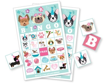 Dog BINGO Game - Pug - Puppy - Dog Party Game, Girl's Printable Bingo Game - Bingo Game for Kids - Puppy Bingo Game - Instant Download