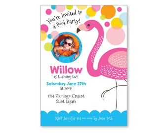 Flamingo Invitation, Flamingo Pool Party Invite, Kids Photo Birthday Invitation, Customized Printable DIY, Pink Flamingo