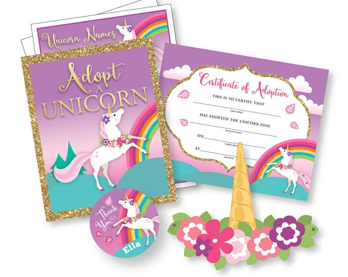 Adopt a Unicorn Party Kit / Certificate / Adoption Sign / Favor Tag / Craft Activities, colouring sheet, unicorn names and unicorn crown