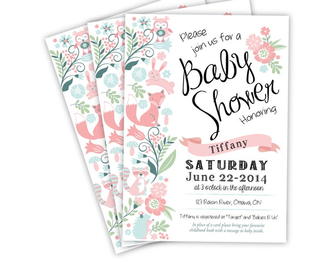 Baby Girl Shower Invitation, Printable, Customized - woodland theme, pink or purple woodland animals