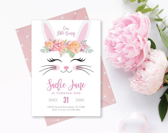 Bunny Birthday Invitation, Rabbit, Bunny Party, Girl's Printable Invitation, Girl's 1st Birthday, Bunny Party, Digital Files