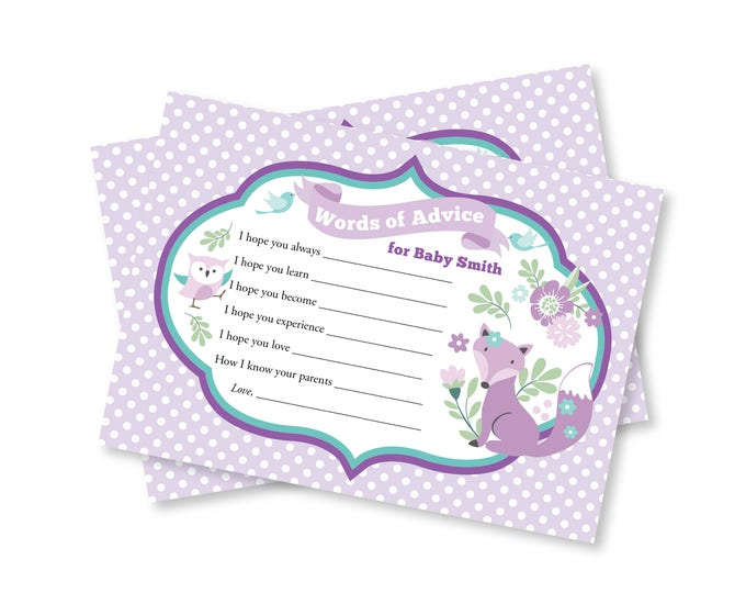 Baby Shower Words of Advice for Baby or Mommy - Wishes for Baby Game Printable - Purple Woodland fox and owl Baby Shower