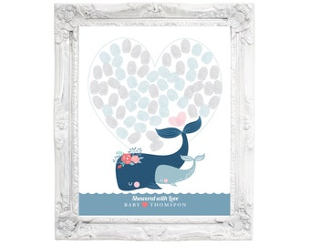 Thumbprint or Signature Whale Guestbook - Nautical or Under the Sea Baby Shower / Navy Grey Baby Shower / Gender Neutral / Digital Files