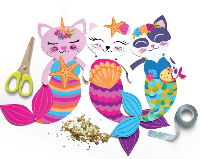 3 Articulated Paper Caticorn Dolls, Instant DIY Download - Caticorn - Cat Crafts, Caticorn - Cat, Mermaid and Unicorn Party